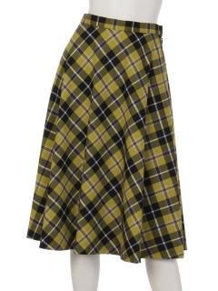 チェック柄レトロ風フレアスカート