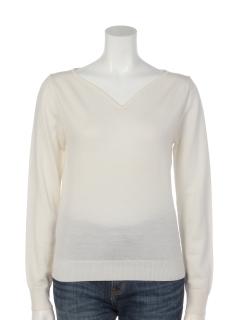 LANEROSSI(R)インカーブVネックセーター