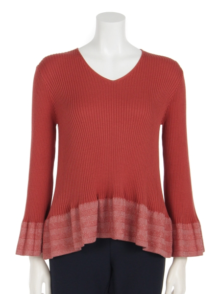 Lilly Lynque (リリーリン) 袖プレーティングベルスリーブニットTOPS red