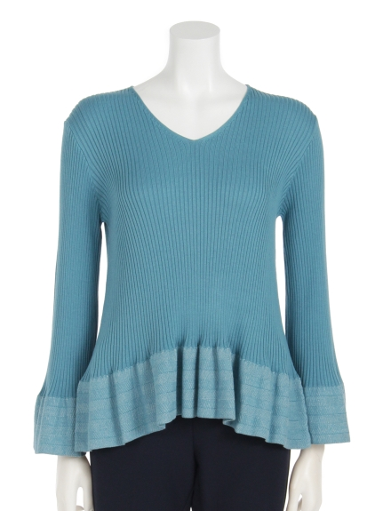 Lilly Lynque (リリーリン) 袖プレーティングベルスリーブニットTOPS blue