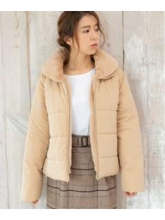 フェイクファー襟付き中わたジャケット