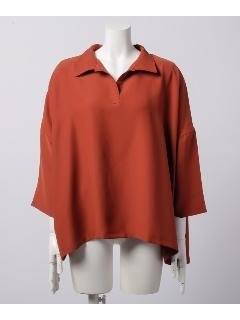 衿付スキッパー前後差チュニック七分袖