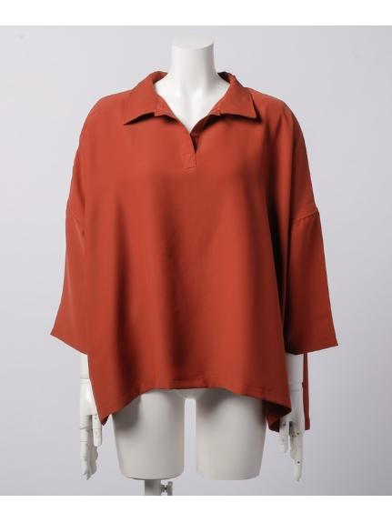 DIAPASON (ディアパソン) 衿付スキッパー前後差チュニック七分袖 オレンジ