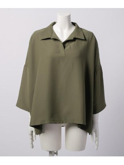 DIAPASON (ディアパソン) 衿付スキッパー前後差チュニック七分袖 カーキ