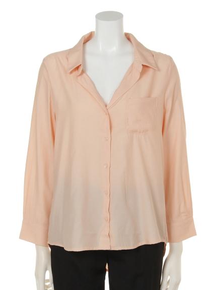DIAPASON (ディアパソン) 長袖無地ポケット付シャツ オレンジ