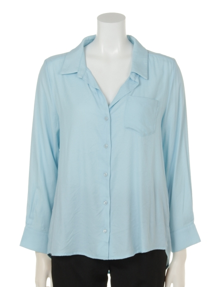 DIAPASON (ディアパソン) 長袖無地ポケット付シャツ ブルー