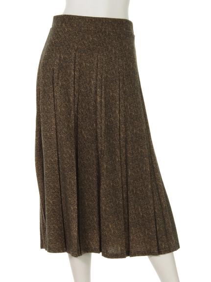 mimosalip (ミモザリップ) ヘリンボーン柄プリーツスカート カラシ