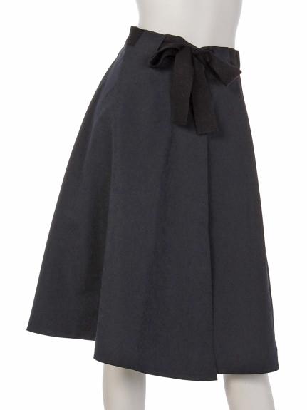 mimosalip (ミモザリップ) 配色リボンラップフレアースカート コン