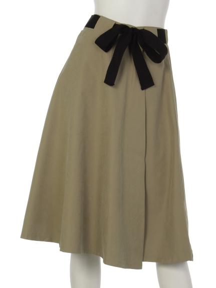 mimosalip (ミモザリップ) 配色リボンラップフレアースカート ベージュ