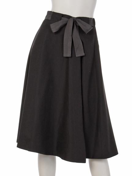 mimosalip (ミモザリップ) 配色リボンラップフレアースカート クロ