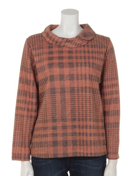 mimosalip (ミモザリップ) チェック柄重ね衿長袖プルオーバー オレンジ