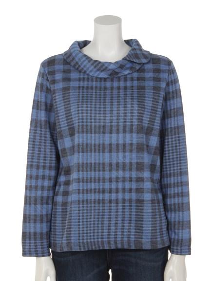 mimosalip (ミモザリップ) チェック柄重ね衿長袖プルオーバー ブルー