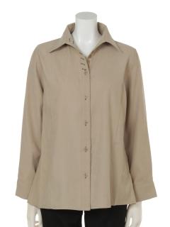 長袖飾りボタン付きドレスシャツ