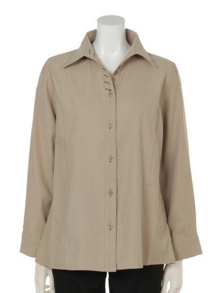 mimosalip (ミモザリップ) 長袖飾りボタン付きドレスシャツ ベージュ