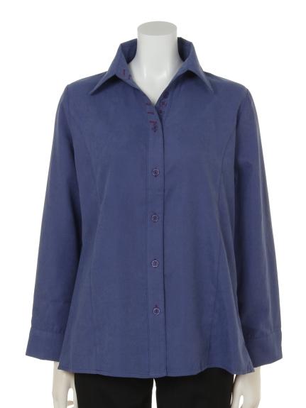mimosalip (ミモザリップ) 長袖飾りボタン付きドレスシャツ ネイビー