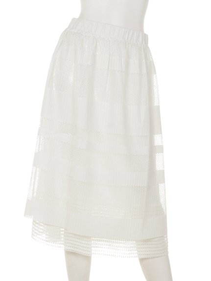 mimosalip (ミモザリップ) 2枚重ねプリーツスカート オフ