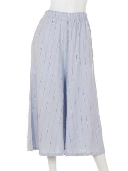 mimosalip (ミモザリップ) ストライプワイドパンツ ブルー