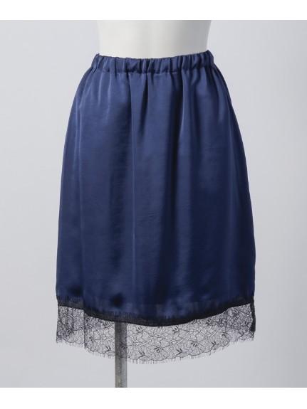 BANNER BARRET (バナーバレット) サテンレーススカート ネイビー
