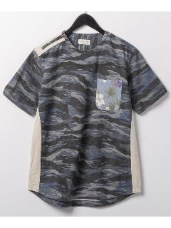 バイオウォッシュプリント半袖クルーシャツ