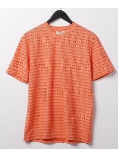 ジャカード半袖Vネックシャツ