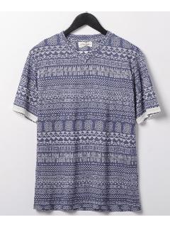 エスニック半袖Vネックシャツ
