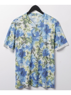 フラワープリント半袖Vネックシャツ