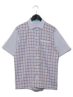 【MAG】前身チェック柄布帛シャツ