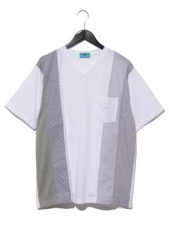 【MAG】布帛切替VネックTシャツ