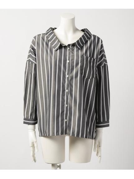 La・Comfy (ラコンフィー) トリプルストライプワイドシャツ ブラック
