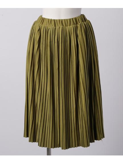 La・Comfy (ラコンフィー) カットプリーツスカート グリーン