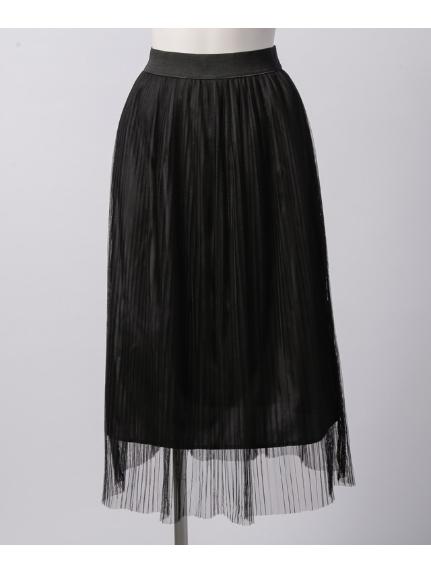 La・Comfy (ラコンフィー) チュールプリーツ ウエストギャザースカート ブラック