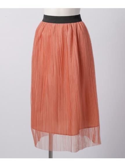 La・Comfy (ラコンフィー) チュールプリーツ ウエストギャザースカート ピンク