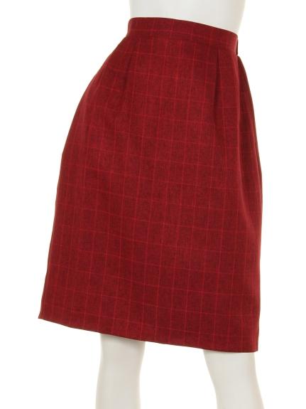 La・Comfy (ラコンフィー) メランジチェックタイトスカート レッド
