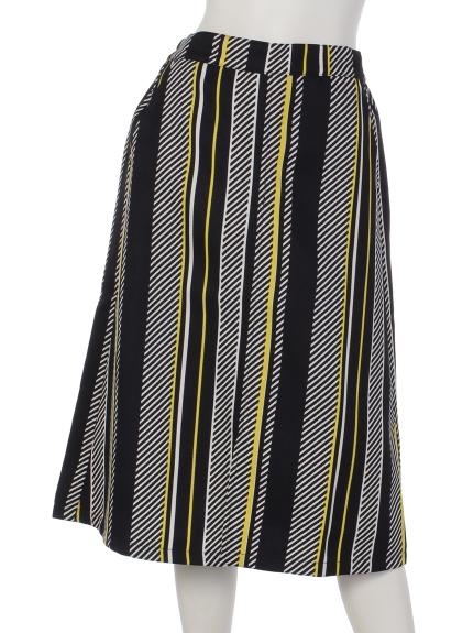 La・Comfy (ラコンフィー) ダイアゴナルストライプスリットスカート ネイビー