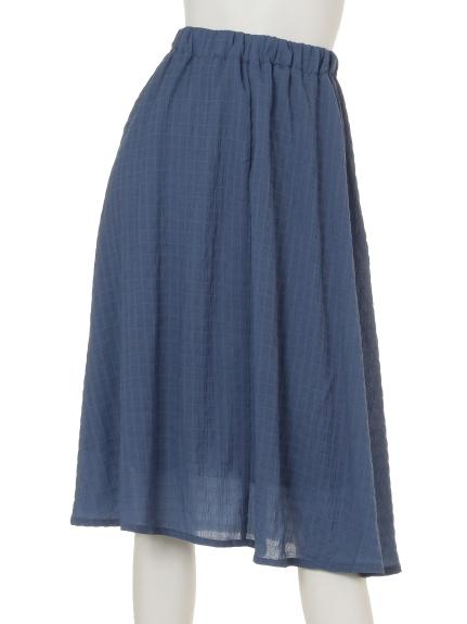 La・Comfy (ラコンフィー) ワッシャーボーダーギャザースカート ブルー