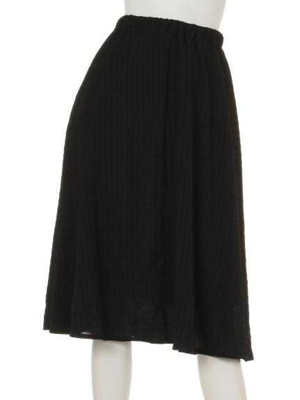 La・Comfy (ラコンフィー) ワッシャーボーダーギャザースカート ブラック