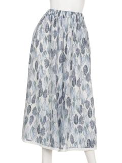 水彩リーフ裾配色タックパンツ