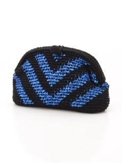 一つ一つ丁寧に編み上げられたニットにきらりとラメ糸がポイントのクラッチバッグ/Kei