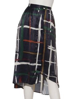 カラーラインイレギュラーヘムスカート