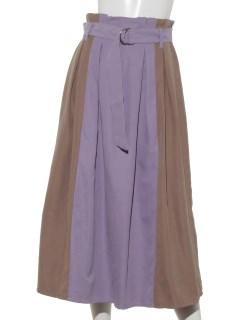 ピーチ起毛カラーブロッキングスカート