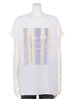 UネックカラーストライプTシャツ