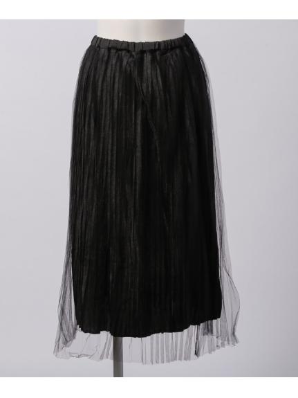 DOUBLE NAME (ダブルネーム) ラメチュールプリーツスカート 黒