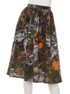 大花柄フレアスカート