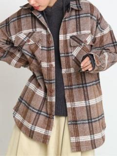 中綿キルティングチェックシャツコート