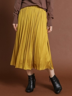 ロングギャザースカート割繊サテン