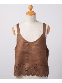 裾カットワーク刺繍オーバーキャミソール
