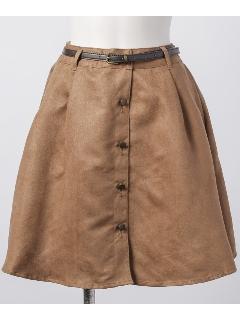ベルト付前ボタンスカート