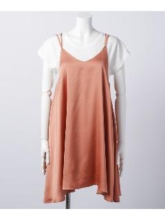 ヴィンテージサテンキャミワンピース×Tシャツセット