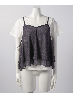 【wears inc】【2点セット】チュールキャミ×Tシャツ