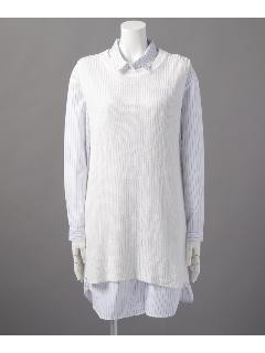 ニットベスト×シャツワンピースセット
